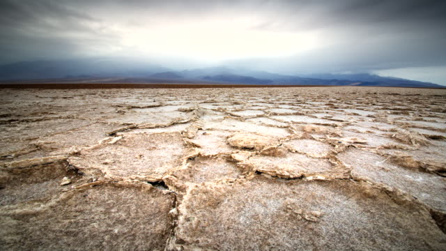 MS T/L Shot of Dry Cracked Earth / Death Valley NP, California, United States