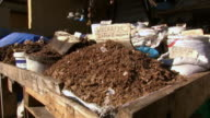 MS Shot of dry herbs stand in Warwick Junction herb market / Durban, South Africa