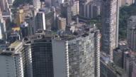MS AERIAL TVS Shot of Edifice Copan around city / Sao Paulo, Brazil