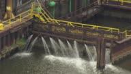 MS ZO AERIAL Shot of effluent pouring into Cuyahoga River / Cleveland, Ohio, United States