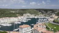 WS Shot of Elevated view of city and marina / Bonifacio, Corsica, France