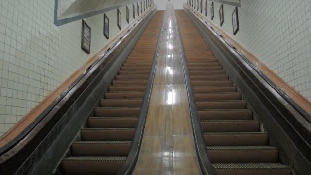 MS Shot of empty escalators / Antwerp, Belgium