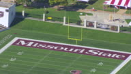 MS AERIAL ZO DS Shot of end zone of Missouri State University Robert W Plaster Stadium / Springfield, Missouri, United States