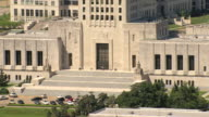 MS AERIAL ZI Shot of entrance of louisiana state capitol building / Baton Rouge, Louisiana, United States