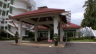 MS Shot of entrance to luxury hotel / Sihanoukville, Cambodia
