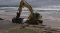 MS TS Shot of Excavator dropping sandbags on beach / Kingscliff, New South Wales, Australia