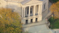 MS TS ZO AERIAL Shot of exterior columns and Severance Hall / Cleveland, Ohio, United States