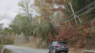 WS Shot of fallen tree leaning on power lines and hanging over two line highway after Superstorm Sandy / North Castle, New York, United States