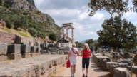 MS Shot of famous Greek Temple of Philosophy for Socrates Oracle of stone 3 4 / Delphi, Greece