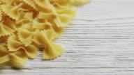 CU PAN Shot of farfalle pasta / London, United Kingdom