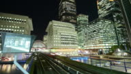 MS LA ZI T/L Shot of Financial district Canary Wharf London and tracks of Docklands Light Railway trains passing rapidly through frame platform is reflecting in large mirror / London, Greater London, United Kingdom