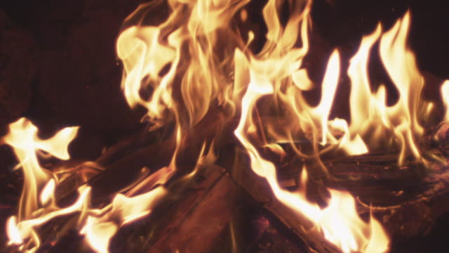 'ECU SLO MO Shot of fire flames in campfire / Bend, Oregon, United States '