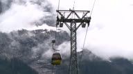 MS Shot of First cable car and mountains with fog / Grindelwald, Bernese Oberland, Switzerland