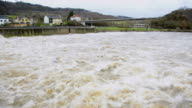 MS Shot of flood waters of river Saar/ Schoden, Rhineland Palatinate, Germany