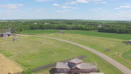 MS AERIAL TU TD Shot of Fly over red river and Fort Abercrombie / North Dakota, United States