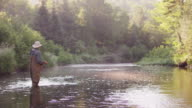 MS SLO MO Shot of Flyfishing on Long Pond River in Northern / Maine, United States