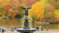 WS PAN Shot of fountain and autumn color trees and people from Bethesda Terrace at Lake / New York, United states