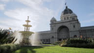 MS Shot of Fountain in front of royal exhibition building, UNESCO World heritage site / Melbourne, Victoria, Australia