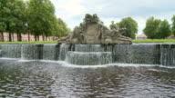 WS Shot of fountain in park of Ludwigslust Castle / Ludwigslust, Mecklenburg Vorpommern, Germany
