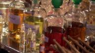 CU PAN Shot of Fragrances at Christmas market in Potsdam / Potsdam, Brandenburg, Germany