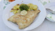 CU Shot of Fried plaice (Scholle) with roasted Potatoes / Rugen Island, Mecklenburg-Western Pomerania, Germany