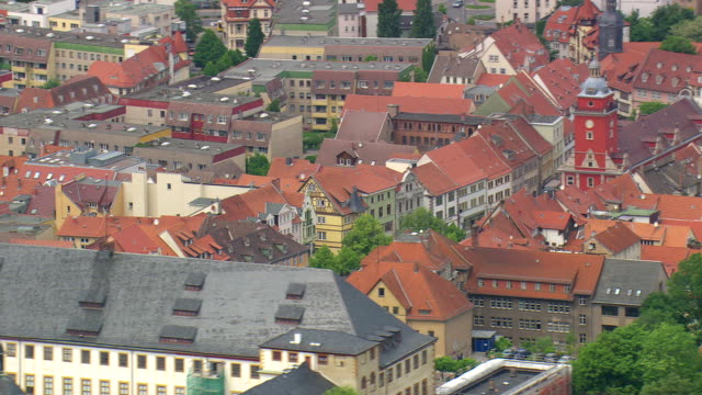 MS AERIAL Shot of Friedenstein castle and town hall with houses at Gotha / Germany