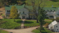 MS ZO AERIAL Shot of front door of Malabar Farm in Richland County and landscape / Ohio, United States