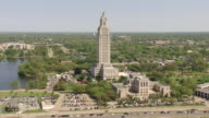 WS AERIAL TS Shot of front entrance of louisiana state capitol building / Baton Rouge, Louisiana, United States