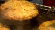 Shot of frying Nokdubindaetteok pancakes at Gwangjang market