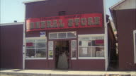 MS ZI Shot of general store in small Texas town