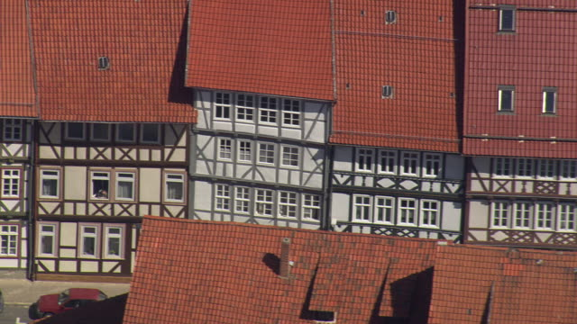 MS AERIAL Shot of German half-timbered historical houses at Duderstadt / Germany