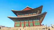 MS POV TS L Shot of Geunjeongjeon Hall in Gyeongbokgung Royal Palace (Representative Architecture of Joseon Dynasty) / Seoul, South Korea