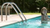 MS Shot of girl swimming in pool / Pollenca Mallorca, Spain
