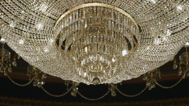 CU R/F Shot of glass chandelier / United Kingdom