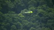 MS AERIAL ZO Shot of Glider flying over city / Rio de Janeiro, Brazil