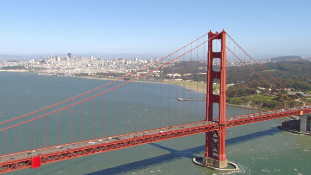 MS AERIAL Shot of Golden Gate Bridge with downtown / San Francisco, California, United States