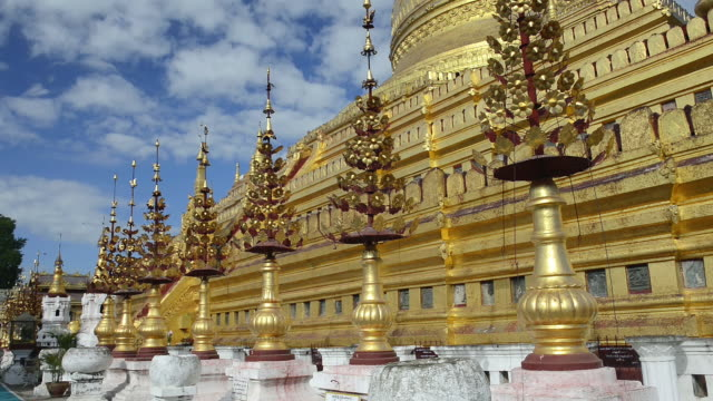 CU LA Shot of Golden Shwezigon Pagoda / Bagan, Mandalay Division, Myanmar