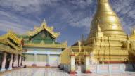 MS LA Shot of Golden Stupa in Sun U Ponnya Shin Pagoda / Sagaing, Mandalay, Mandalay Division, Myanmar