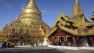 MS PAN Shot of Golden Stupa of Shwezigon Pagoda / Bagan, Mandalay Division, Myanmar