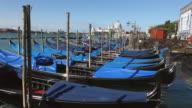 WS Shot of gondolas at Molo Riva degli Schiavoni / Venice, Veneto, Italy