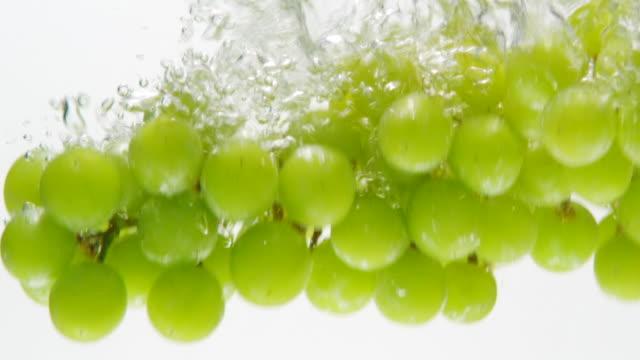 ECU SLO MO Shot of Grapes falling into water / Toronto, Ontario, Canada