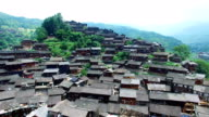 WS AERIAL shot of Grey Tiled Wooden Miao Village,Guizhou,China.