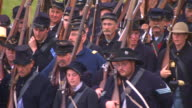 MS TS Shot of group of Union soldiers march / Gettysburg, Pennsylvania, United States