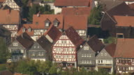 MS AERIAL Shot of half timbered houses at Kirchham / Germany
