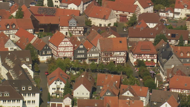 MS AERIAL Shot of half timbered houses at Kirchham / Germany