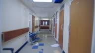 WS TS  Shot of hallway of delapidated hospital hallway / Leeds, West Yorkshire, United Kingdom