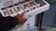 MS Shot of hand opening drawer where several purple heart medals stored as part of Vietnam Veterans Memorial Collection at Museum Resource Center / Landover, Maryland, United States