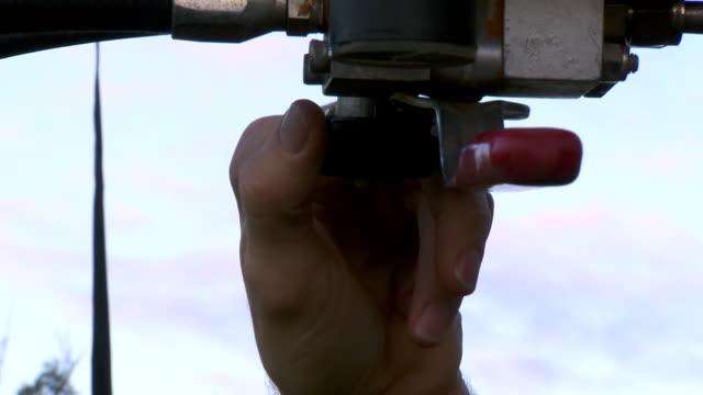 CU TU Shot of Hand operating engine handle / Coolgardie and Kalgoorlie, Western Australia, Australia