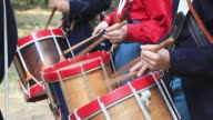 MS Shot of Hands of three drummer boys playing / Gettysburg, Virginia, United States