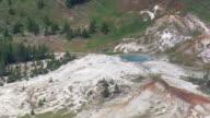 MS AERIAL Shot of Heart Lake and Heart Lake Geyser Basin / Wyoming, United States